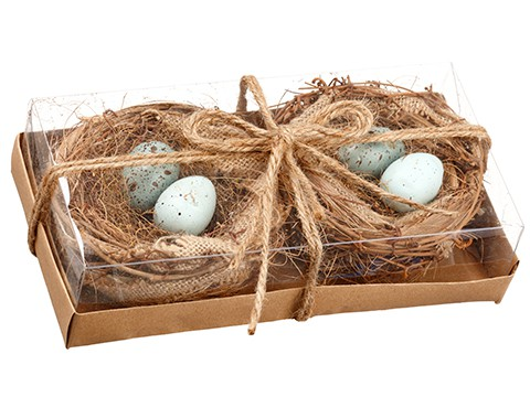 "2.5""H x 5""W x 9""L Bird's Nest With Egg Assortment (2 ea/box) Natural"