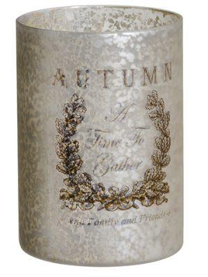 """4""""H x 3""""D Autumn GlassCandleholderAntique Silver"""
