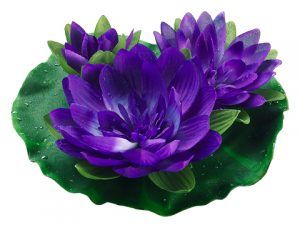 "9"" Floating Water Lily w/Waterdrops Purple"