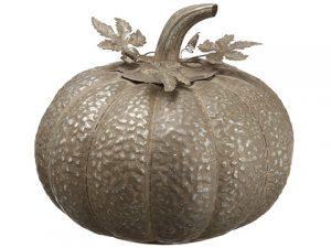 """14.5""""H x 13.25""""D Metal Pumpkin Gray"""