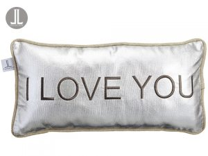 """12wx23""""L I Love You Pillow Silver Beige"""
