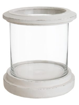 "11""H x 9.75""D Cement/Glass Pot White Clear"