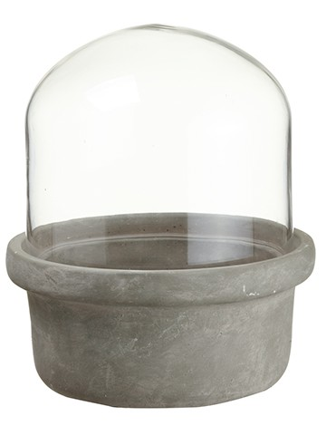 """12.5""""H x 10""""D Glass Dome WithCement PotClear Gray"""