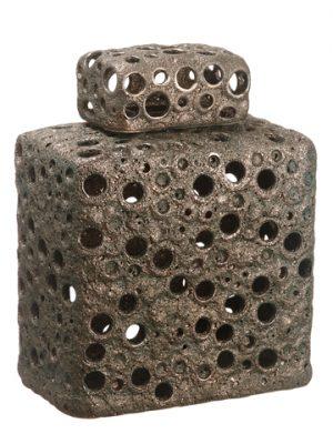 """12.4"""" Ceramic Vase w/Lid Bronze"""