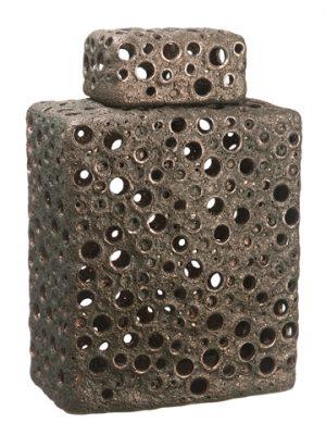 """15.5"""" Ceramic Vase w/Lid Bronze"""