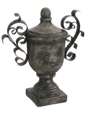 "14.25"" Terra Cotta Finial Container w/Lid Gray"
