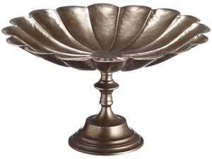 "11""H x 19.3""D Scalloped Footed Bowl Antique Gold"