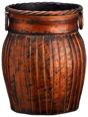 "12""D x 13.75""H Tin Pot Antique Brown"