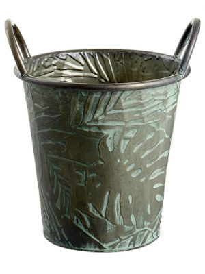 "11.75""H x 10.5""D Tropical Leaf Metal Planter With Handle And Plastic Liner Gray Green"