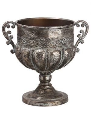 "11.75""H x 8.25""D Metal Urn Antique Gray"