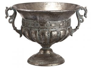"11.75""H x 16.5""D Metal Urn Antique Gray"