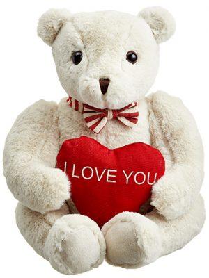 """13"""" Teddy Bear Holding AHeartCream Red"""