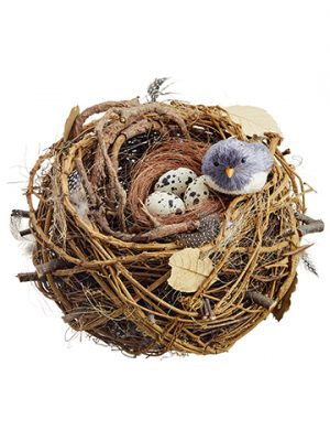 "12"" Bird's Nest With Egg and Bird Beige Brown"