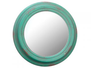 "13"" Metal Mirror Antique Green"