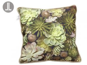 "16""W x 16""L Succulent Pillow Green Beige"