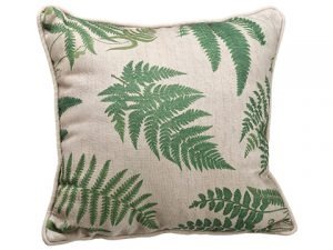 "14""W x 14""L Fern Leaf Pattern Pillow Green Beige"