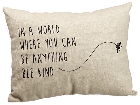 """12""""W x 15""""L Bee Kind Pillow Beige"""