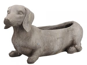 "11.5"" Dog Planter Antique Gray"