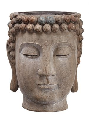 "16.75""H x 14.5""D Buddha Planter Antique Brown"