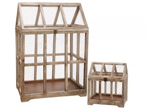 "17""-36"" Wood/Meshed Garden Planter (2 ea/set) Brown Rust"