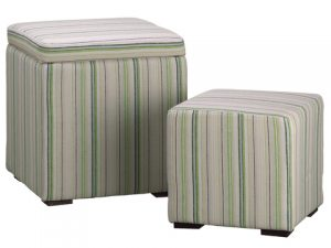 "19""H x 16""W x 16""L Stripe Nested Stool (2 ea./set) Green Cream"