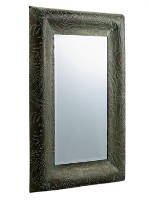 "23""W x 33.5""L Tropical Leaf Mirror Gray Green"