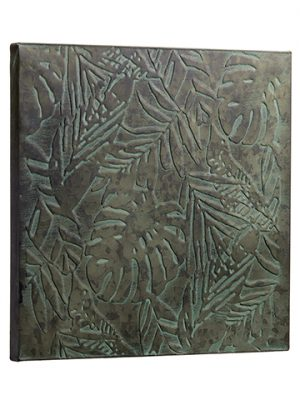 "16""W x 16""L Tropical Leaf Metal Wall Decor Gray Green"