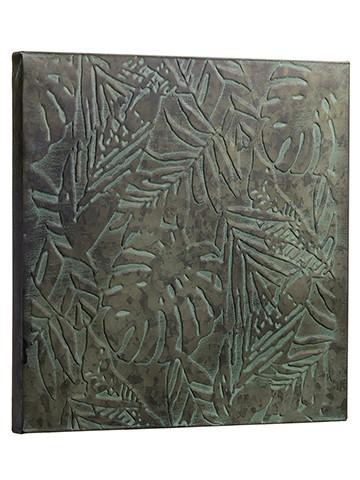 """16""""W x 16""""L Tropical Leaf MetalWall DecorGray Green"""