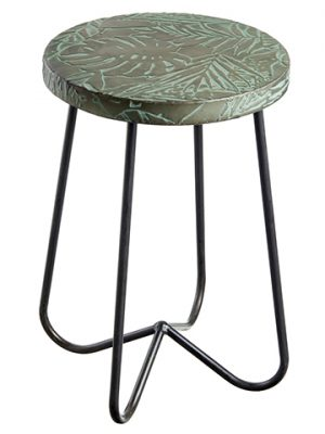 "19""H x 12.5""D Tropical Leaf Metal Stool Gray Green"