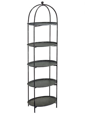 "82.2""H x 24.75""L Metal Etagere Shelf x5 Gray Rust"