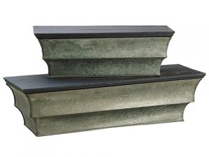 "6""H-6.5""H Wood/Metal Shelf (2ea./set)Gray Lead"