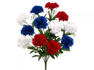 "18"" Carnation BusH x 12 Red Blue"