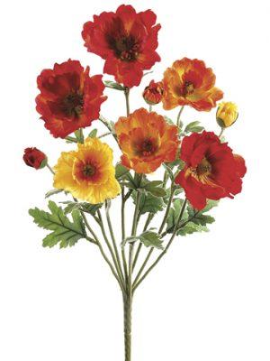 "18"" Small Poppy BusH x 9 Orange Flame"