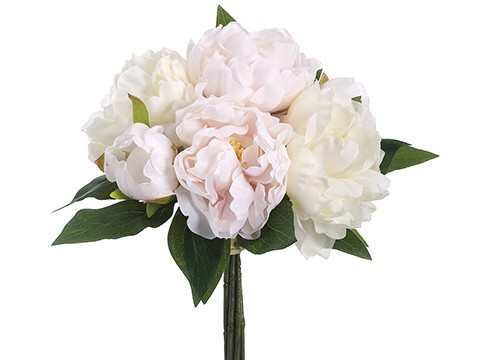 """14"""" Peony Bouquet White Pink"""