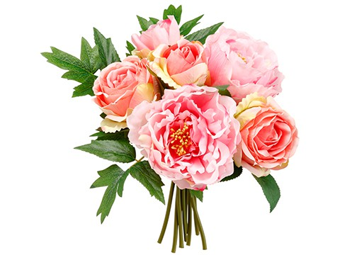 """10"""" Peony/Rose Bouquet Rose Pink"""