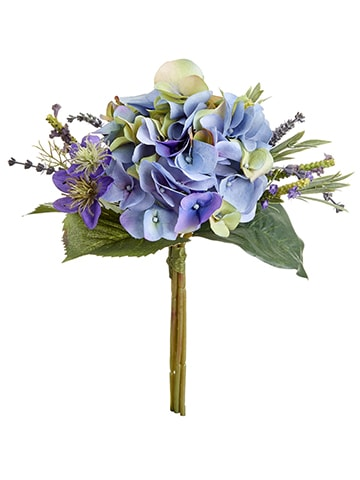 "11"" Hydrangea/Lavender Bouquet Purple Blue"