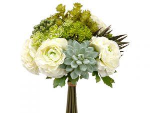 "12"" Hydrangea/SucculentGarden BouquetGreen Gray"