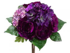 """12"""" Rose/Hydrangea Bouquet Violet Lilac"""