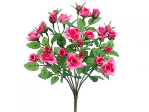 "13"" Mini Rose BusH x 8 Pink"
