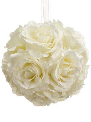 "6"" Rose Kissing Ball Cream"