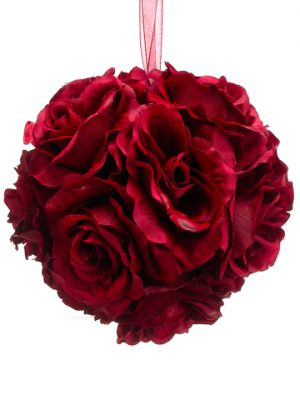 "6"" Rose Kissing Ball Red"