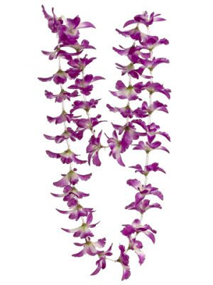 "23"" Orchid Necklace Purple White"