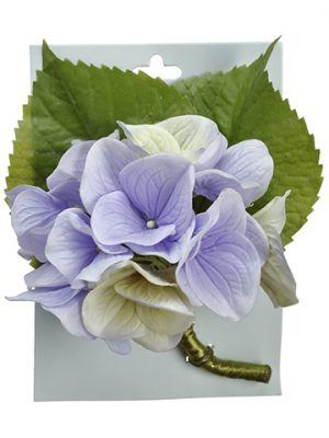 "5"" Hydrangea Corsage on Header Card Creasm Lavender"