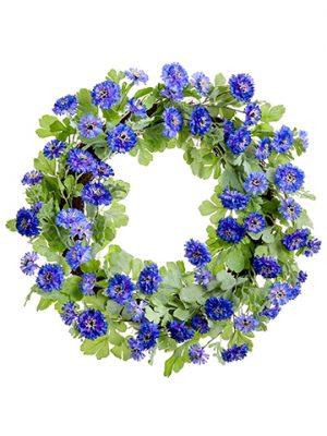 """22"""" Cornflower Wreath Purple Lavender"""
