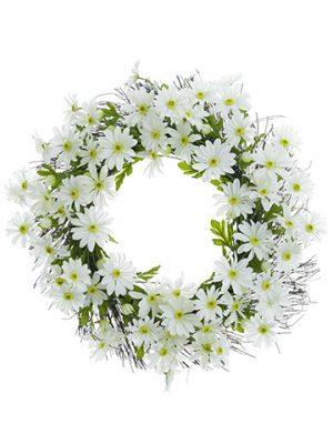 "24"" Daisy Wreath White"