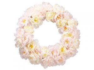 "22"" Peony Wreath White Pink"