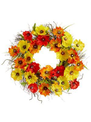 """22"""" Poppy Wreath Yellow Orange"""