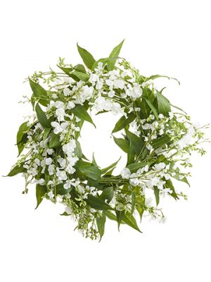 "26"" Sweetpea/Eucalyptus Wreath White"