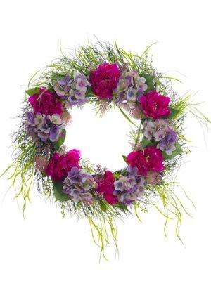 "26"" Hydrangea/Peony/Protea/Grass WreathBeauty Purple"