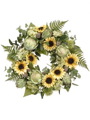 """24"""" Sunflower/Protea/QueenAnne's Lace WreathYellow Green"""